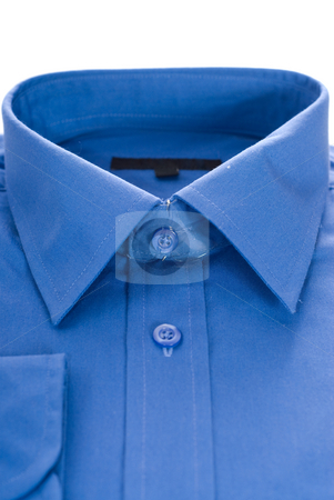 Shirt Closeup stock photo, Closeup view of a blue formal shirt, isolated against a white background by Richard Nelson