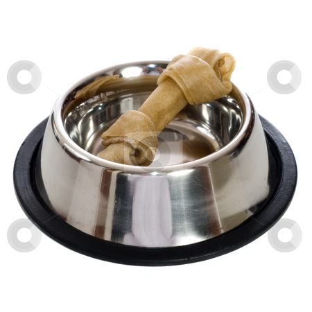 Dog Bone stock photo, A rawhide dog bone in a metal dish, isolated against a white background by Richard Nelson