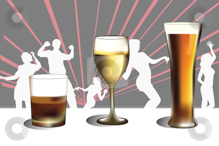 Beer Glasses stock vector clipart, Vector illustration of three beer glasses by Adelina Green