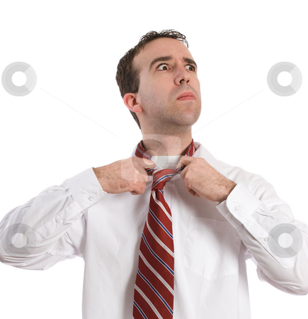 Work Frustration stock photo, A young employee is frustrated and ready to quit, isolated against a white background by Richard Nelson
