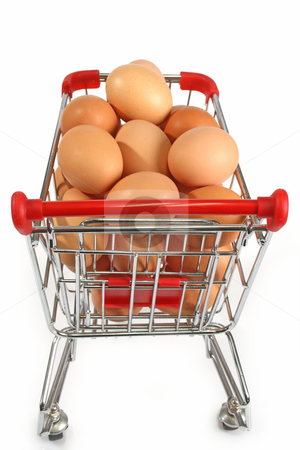 Shopping stock photo, Shopping trolley filled with brown eggs on bright background by Birgit Reitz-Hofmann