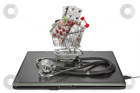 Pharmacy stock photo, Notebook with stethoscope and a shopping trolley with pills on white background by Birgit Reitz-Hofmann