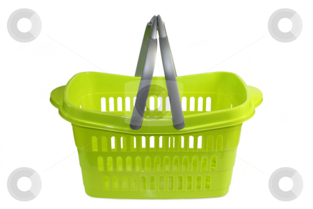 Shopping basket stock photo, Green plastic shopping basket isolated on whtie background by Birgit Reitz-Hofmann