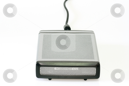 Portable hard disk stock photo, Portable hard disk in the metal case on bright background by Birgit Reitz-Hofmann