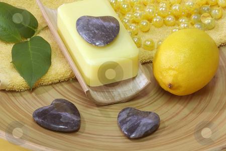 Lemon soap stock photo, Lemon Soap and yellow accessories - body care by Birgit Reitz-Hofmann