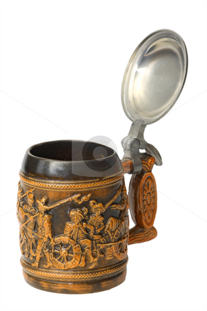 German beer jug stock photo, A traditional German beer jug with silver lid isolated on white background by Birgit Reitz-Hofmann