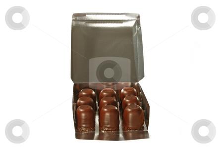 Chocolate marshmallows stock photo, Chocolate marshmallow in a box isolated on white background by Birgit Reitz-Hofmann