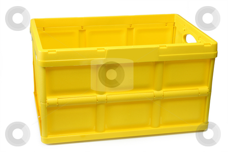 Shopping basket stock photo, Yellow shopping basket isolated on white background by Birgit Reitz-Hofmann