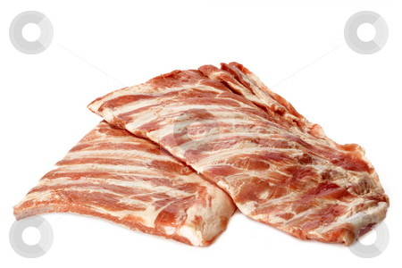 Spare ribs stock photo, Raw spare ribs on white background by Birgit Reitz-Hofmann