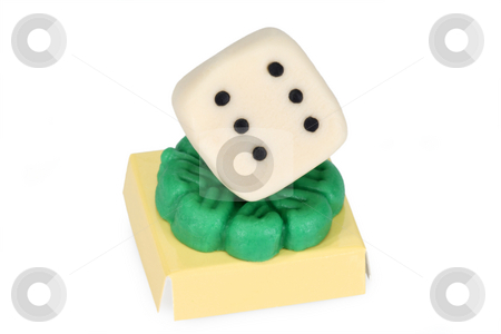 Talisman stock photo, Marzipan dice isolated on white background by Birgit Reitz-Hofmann