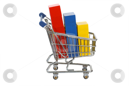 Shopping trolley stock photo, Shopping trolley with toys on bright background by Birgit Reitz-Hofmann