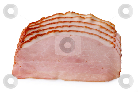 Smoked ham stock photo, Slices of smoked ham isolated on white Background by Birgit Reitz-Hofmann