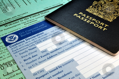 Arriving in the USA: Passport and USA Customs forms stock photo, Customs forms at border point of entry (USA) by Fernando Barozza