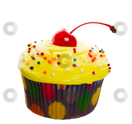Yellow Cherry Cupcake stock photo, Delectable yellow cupcake topped with a cherry and multi-colored sprinkles.  Shot on white background. by Brenda Carson