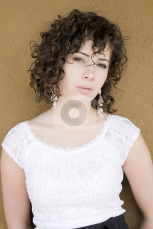 Natural Curl stock photo, Girl with beautifully defined, naturally curly hair. by Brenda Carson