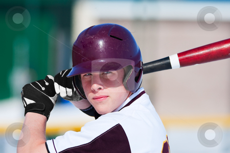 Batter Up stock photo, A teenage baseball player ready to bat. by Brenda Carson