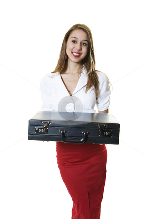 Woman With Briefcase stock photo, A pretty office girl presenting a briefcase. by Brenda Carson