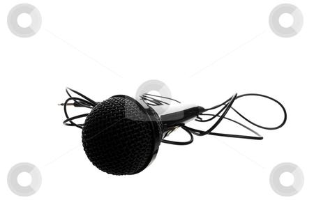 Studio Microphone stock photo, A black studio microphone shot on a white background. by Brenda Carson