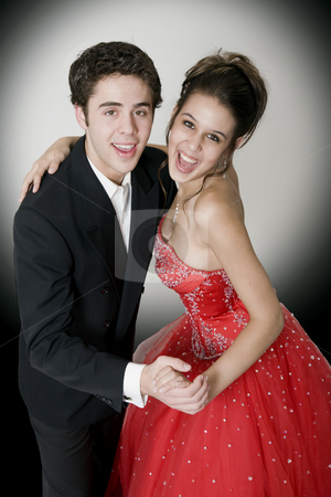 Ballroom Dancing stock photo, Boy & girl, in formal attire, dancing at their high school prom. by Brenda Carson