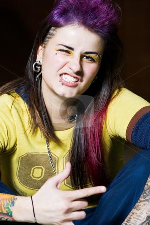 Skater Girl stock photo, Portrait of a tattooed, tough skater girl. by Brenda Carson