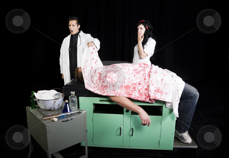 Dr. O. Crap & Nurse Oops stock photo, High school students in a school play. by Brenda Carson