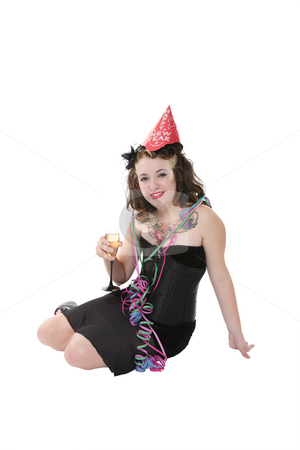 New Year's Party Girl stock photo, New Year's Eve party girl toasting the new year with a little wine.  Isolated with clipping path. by Brenda Carson