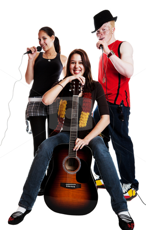 Musical Trio stock photo, Two mixed race girls and an albino african guy in a musical trio.  Shot on white background. by Brenda Carson