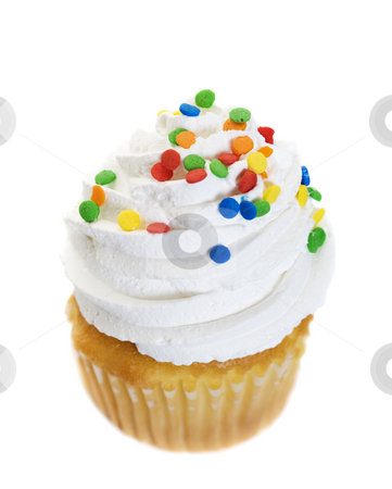 Icing On The Cake stock photo, A single cupcake heaped with icing and colorful candy sprinkles.  Shot on white background. by Brenda Carson
