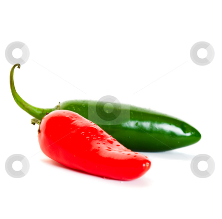 Fresh Peppers stock photo, Fresh, red and green jalapeno chili peppers. by Brenda Carson