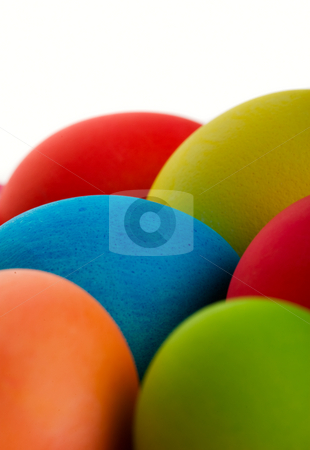 Easter Egg Macro stock photo, Brightly colored Easter eggs closeup.  Shot on white background. by Brenda Carson