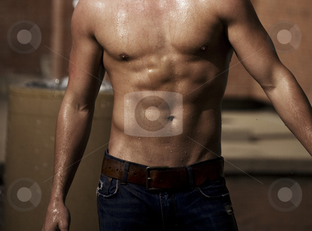 Wet Muscles stock photo, A built man's torso with water streaming off in the sunlight. by Brenda Carson