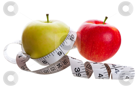 Weight Lose stock photo, Healthy eating and weight lose conceptual image.  Shot on white background. by Brenda Carson
