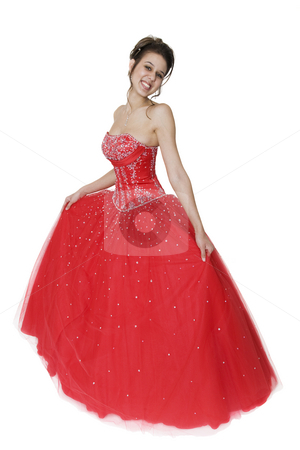 Gorgeous Formal Brunette stock photo, Pretty young woman in a beautiful strapless ball gown. by Brenda Carson