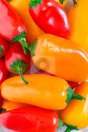 Jalapeno Pepper Background stock photo, Orange, red & yellow Jalapeno Pepper background. by Brenda Carson