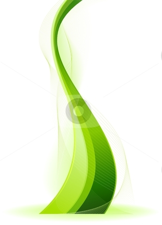 Green vector fantasy wave stock vector clipart, Abstract wavy vector background in green. Use of linear gradients, blends, global colors. by Ina Wendrock
