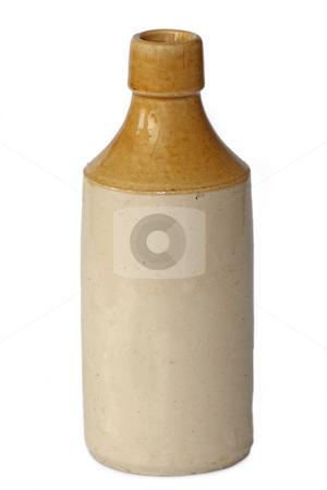 Beer bottle stock photo, Vintage beer ceramic bottle isolated on white background by Birgit Reitz-Hofmann