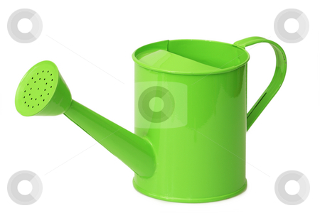 Watering can stock photo, Green watering can for household use isolated on white background by Birgit Reitz-Hofmann