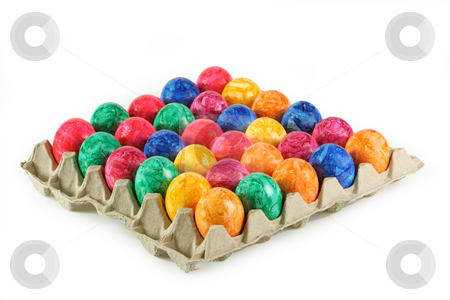 Colorful eggs stock photo, Colorful eggs isolated on white background by Birgit Reitz-Hofmann