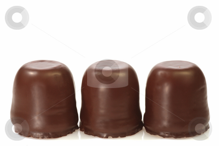 Chocolate marshmallow stock photo, Closeup of a chocolate marshmallow on bright background by Birgit Reitz-Hofmann