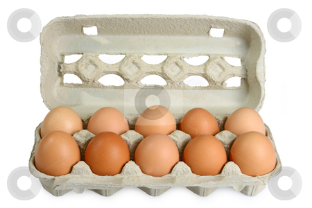 Fresh Eggs stock photo, Eggs in a box on bright background by Birgit Reitz-Hofmann