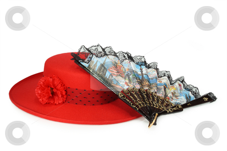 Traditional spanish fashion stock photo, Red ladies hat and spanish fan isolated on white background by Birgit Reitz-Hofmann