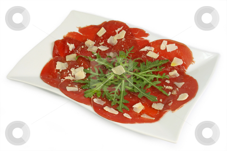 Beef carpaccio stock photo, Beef carpaccio with pepper, rucola and parmesan by Birgit Reitz-Hofmann