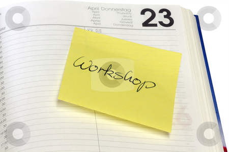 Workshop stock photo, Open diary with message on white background by Birgit Reitz-Hofmann