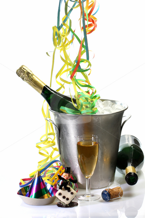 New Years Eve with Champagne stock photo, Champagne toast composition with glas, talisman and decoration on bright background by Birgit Reitz-Hofmann