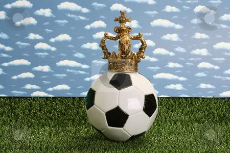 Soccer ball stock photo, Soccer ball on green background by Birgit Reitz-Hofmann