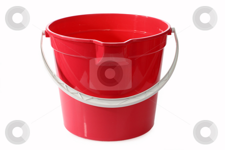 Bucket stock photo, A red bucket or pale on a white background by Birgit Reitz-Hofmann