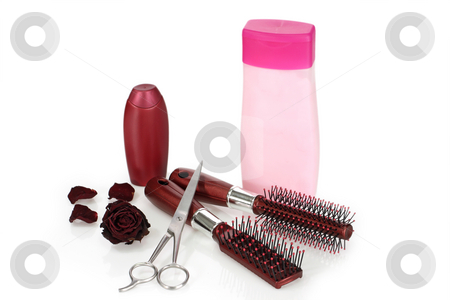 Hair beauty stock photo, Shampoo and hairbrush on bright background by Birgit Reitz-Hofmann