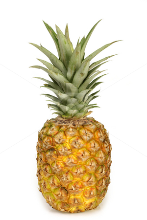 Pineapple stock photo, One pineapple on white background. by Birgit Reitz-Hofmann