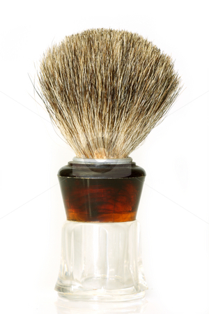 Shaving brush stock photo, Shaving brush isolated on white background by Birgit Reitz-Hofmann