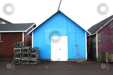 Blue Fisherman Shack stock photo, Fishing Shacks, Prince Edward Island by Thomas Marchessault
